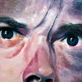 molenbeersel selfportrait # 14 oilpaint on MDF 40 x 40 cm 2012