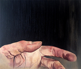 The hand of the Artist # 06 oilpaint on MDF 34 x 40 cm 2013