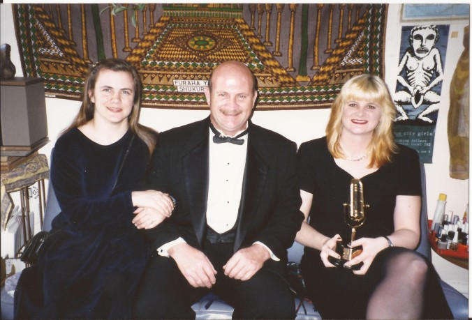 I won a Bay Area Music Award, Bammie, in 1996 for Best Alternative Album for the SF Seals Truth Walks In Sleepy Shadows. The picture was taken at the apartment I lived in for 8 years near Golden Gate Park. I'm with my dad (r.i.p.) and sister, Terri. (Private photo from Barbara's own collection. All rights reserved.)