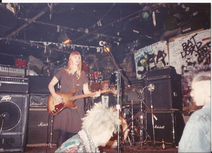 Barbara Manning with World of Pooh, playing at the CBGB in NYC. (Private photo from Barbara's own collection. All rights reserved.)