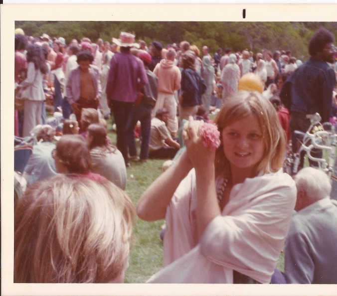 My mother took my sister and me to hippie gatherings and festivals. This photo was taken at a Jagannath festival in Golden Gate Park during summer 1977; I am 12. (Private photo from Barbara's own collection. All rights reserved.)