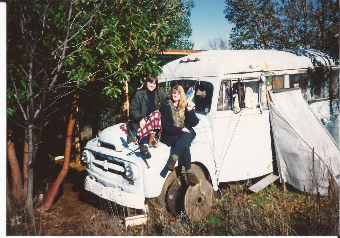 My mother bought the bus in 1977 which moved regularly as she changed locations. This picture was taken around 1990 when my mom bought her plot of land in the foothills of the Northern Sierra Nevada. She lived in the bus until the end of her life. (Private photo from Barbara's own collection. All rights reserved.)