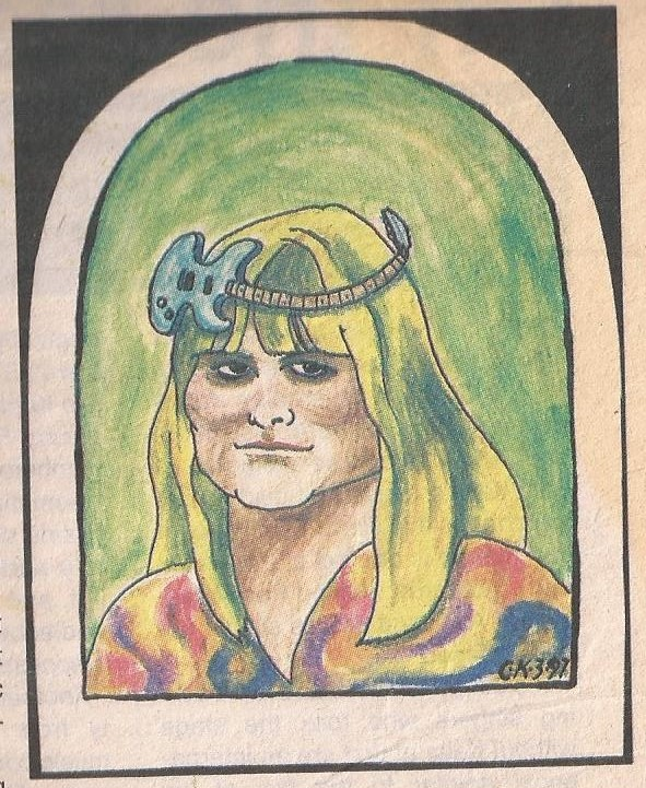 Illustration of Barbara by Chris Knox which accompanied an article he wrote to promote my 1997 tour in NZ.(Private photo from Barbara's own collection. All rights reserved.)
